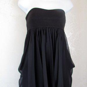 LAROK MINI DRESS, BLACK STRAPLESS w LAYERED SKIRT